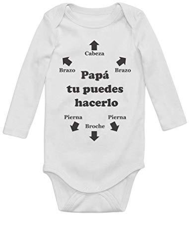 Body de Manga Larga para Bebé - Regalos Originales para Padres Primerizos - Papá Tu Puedes Hacerlo Newborn Blanco