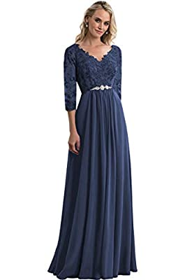 Modest A-line V-Neck long chiffon pleated 3/4 sleeves mother of the bride dress with beaded belt lace appliques formal evening party gown. Fast shipping, best quality and price ever!!! For more dreamy and affordable dress, please click on our brand n...