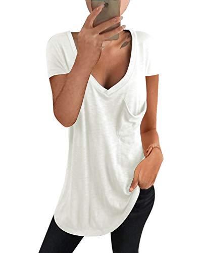 kenoce T-Shirt Manica Corta Donna Scollo a V Profondo Camicetta Casual Sexy Loose Bluse Maglietta Donna Estiva ed Autunno D-Bianco M
