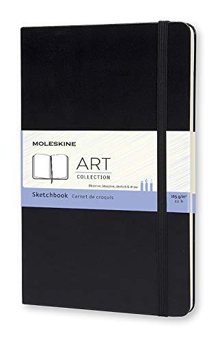 "Moleskine Art Plus Hard Cover Sketchbook, Plain, Large (5"" x 8.25"") Black - Sketch Pad for Drawing, Watercolor Painting, Sketchbook for Teens, Artists, Students"