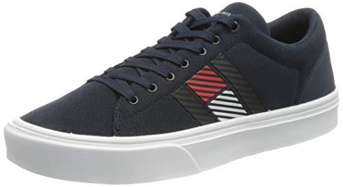 Tommy Hilfiger Lightweight Stripes Knit Sneaker, Zapatillas DE Punto Ligero Hombre, Cielo del Desierto, 43 EU