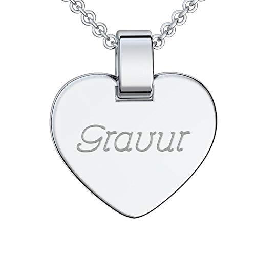 Herz Kette Gravur Silber 925 + inkl. GRATIS Luxusetui + Kettenanhänger mit Gravur persönlich...