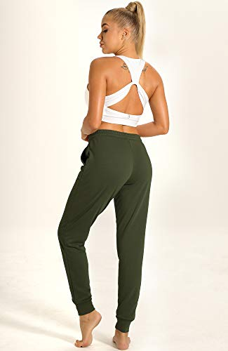 icyzone Women's Active Joggers Sweatpants - Athletic Yoga Lounge Pants with Pockets (Army, L) 4