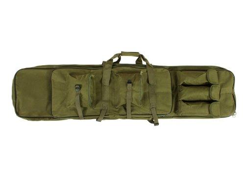 Begadi Langwaffentasche / Futteral mit Doppelfach & Aussentaschen, extralang, 120 x 30cm, olive