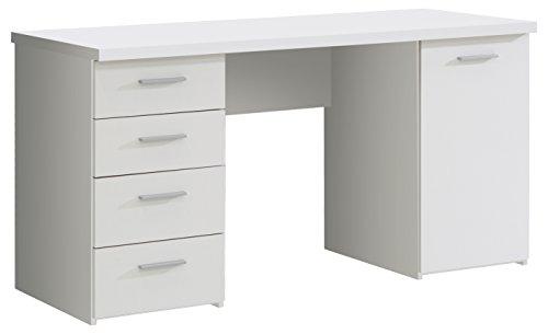 FORTE  Schreibtisch mit 4 Schubkästen und 1 Tür, Holz, Weiß matt, 145 x 60 x 76.3 cm