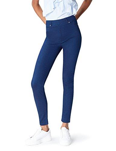 find. Damen Jeggings mit Stretch-Bund und Nieten, Blau (Mid Wash), XL