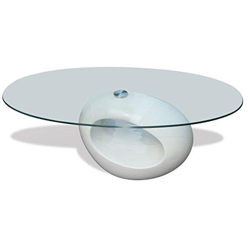 vidaXL Tavolino da caff Ripiano Ovale in Vetro Bianco Lucido Moderno Salotto