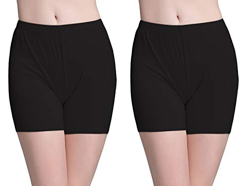 Vinconie Leggins Shorts Kurze Leggings Damen Baumwolle Hotpants Panty Unter Rock, 2 Pack: Schwarz & Schwarz, X-Small / (34 36)