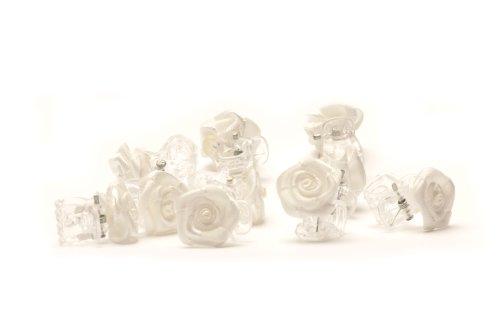 5 Pinzas para el cabello con rosas - Accesorios para el cabello de flores - flor Blanco