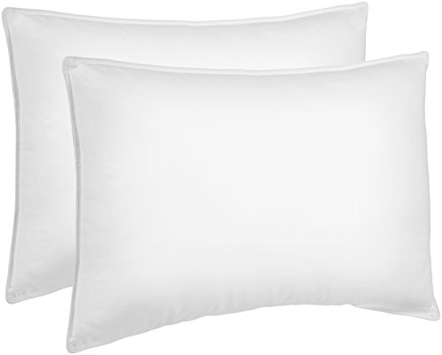 AmazonBasics Down Alternative Bed Pillows for Stomach and Back Sleepers - 2-Pack, Soft Density, Standard