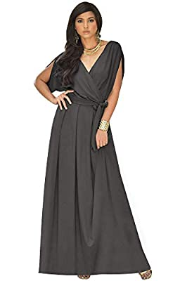 Plus size maxi dresses; plus sized gowns; curvy maxi dresses for women; slimming Dark Gray Grey maxi dress; flattering stretchy clothing; full figure apparel; ladies garments; womans comfortable maxi's; dressy women's clothes; big size dress Modest e...