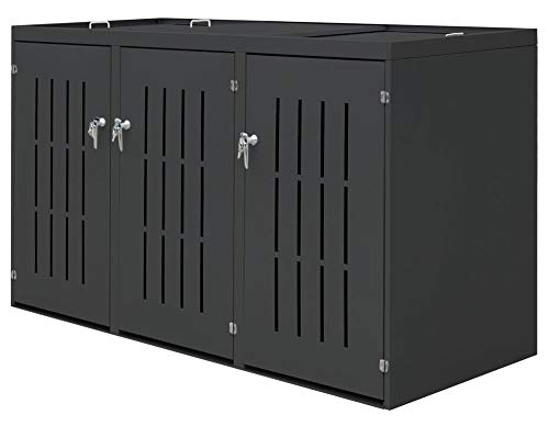 V2Aox 3er Mülltonnenbox Müllbox Mülltonnenverkleidung Edelstahl Schiebedach Anthrazit
