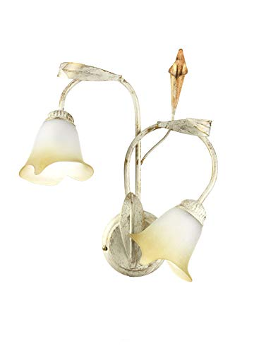 ONLI Lampada da Parete Due luci in Metallo Color Avorio e Oro, 2