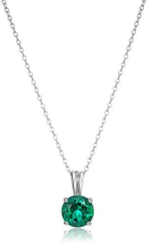 Amazon Essentials Sterling Silver Round Cut Created Emerald...