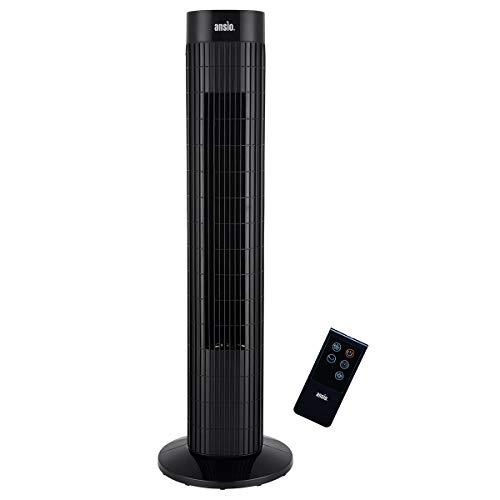ANSIO Oszillierender Turmventilator mit Fernsteuerung- Säulenventilator - 75CM Standventilator - Ventilator - 3-stufigem Windmodus mit 3 Drehzahlen und langem Kabel(1,75m) Schwarz-2 Jahre Garantie