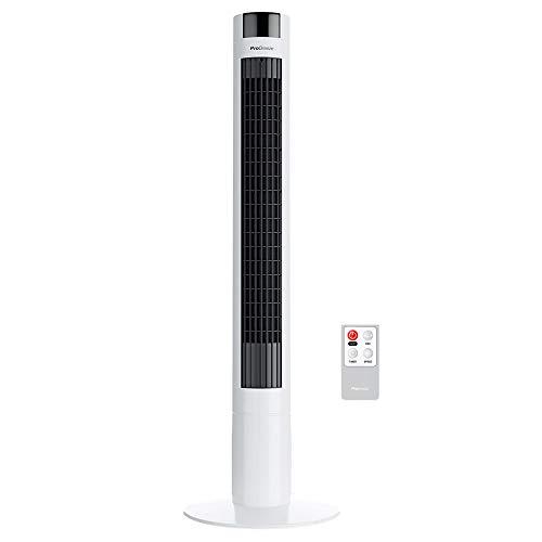 Pro Breeze™ Oszillierender Turmventilator, 100 cm Höhe, 80 Grad Oszillation, Säulenventilator mit 3 Geschwindigkeitsstufen, 45 Watt Ventilator mit Fernbedienung und Timer | Weiß