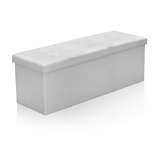 Hengda Sitzbank mit Stauraum, Sitzhocker, Sitztruhe, Aufbewahrungsmöglichkeit für Spielzeug Bücher PVC-Leder Sitzbank mit Deckel Faltbox 110 x 38 x 38 cm, Weiß