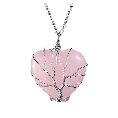 Jovivi Love Heart Natural Rose Quartz Healing Crystal Stone...