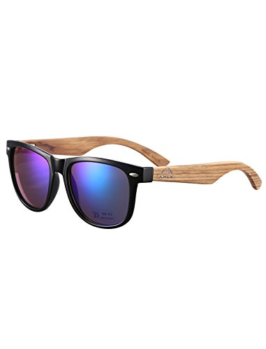 Bambus-Sonnenbrille mit Brillen-Etui, Schraubenzieher und Tasche - polarisiert - UV400 - verschiede Farben u verspiegelte Gläser, mit Bügeln aus Bambus | UV-Schutz