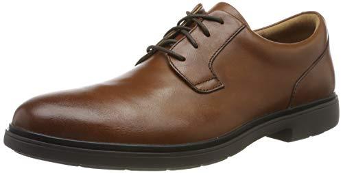 Clarks Un Tailor Tie, Zapatos de Cordones Derby Hombre, Piel marrón, 43 EU