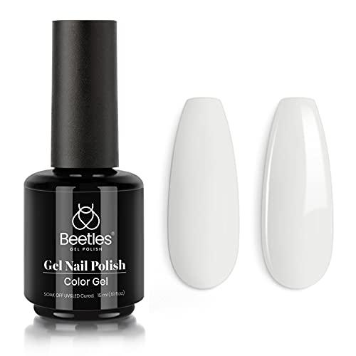 Beetles Gel Nail Polish, 1 Pcs 15ml Milky White Color Soak Off Gel Polish Nail Art Manicure Salon DIY at Home