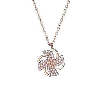 WSTERAO Colliers pendentifs pour Femmes Collier de Moulin à Vent Rotatif en Cristal Exquis Cadeaux de Demoiselles d'honneur Collier Infini