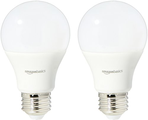 AmazonBasics 40 Watt Equivalent, Soft White, Dimmable, A19 LED Light Bulb | 2-Pack