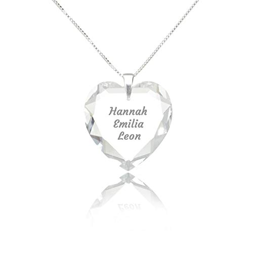 Herzkette 925 Sterling Silber mit SWAROVSKI ELEMENTS Herz Crystal Gravur Anhänger Namenskette mit...