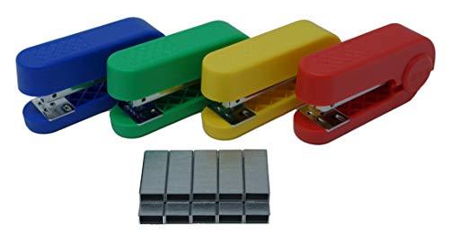 Allpremio, mini cucitrice da 25 fogli, colorata, in set blu, rosso, verde, giallo, crebba skre-pop con 1000 punti zincati 24/6