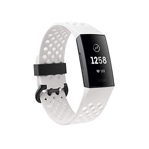 Fitbit Charge 3 Special Edition Fitness Activity Tracker Graphite/White Silicone, one Size, 0.06 Pound