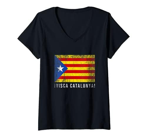 Mujer visca Catalunya / Viva Cataluña Camiseta Cuello V