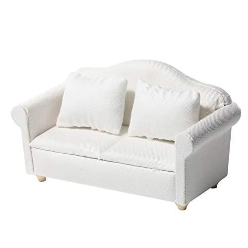Tidyard 1:12 Miniatura casa delle Bambole Mini mobili Divano in Tessuto Bianco Scena Modello in Miniatura a 3 Pezzi