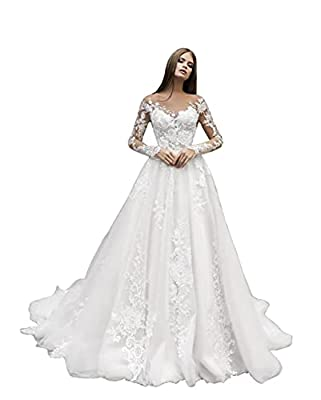 ♈【Fabric】Our scoop neck a line wedding dresses are made of soft tulle and satin, with sleeveless. Elegant fabric makes you comfortable and healthy. ♈【Design】New stylish design, scoop neck strapless bridal gown. There are lace appliques design on the ...