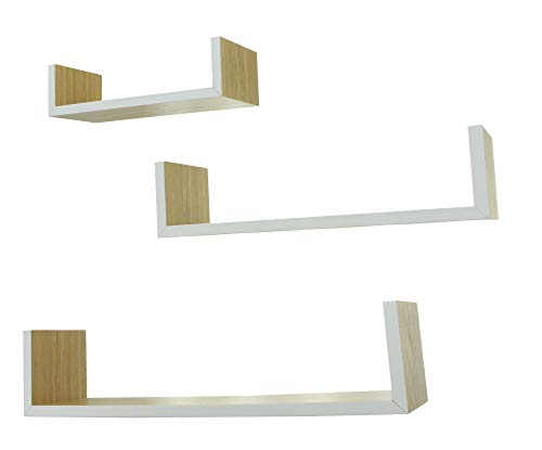 Frank Flechtwaren - Set di 3 mensole da parete, in legno naturale