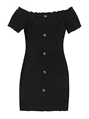Material:Fabric has some stretch,comfy for summer dress Features: Off the Shoulder, Bodycon, Lettuce Trim, Rib-Knit, Short Sleeve Short Dress Occasion: Suitable for Summer, Vacation, Casual Outtings, Office, School, Home and Daily wear. Suitable for ...