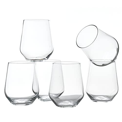 Baroni Home Set di 6 Bicchieri da Acqua, Bicchieri Acqua in Vetro Trasparente Leggero 45 cl