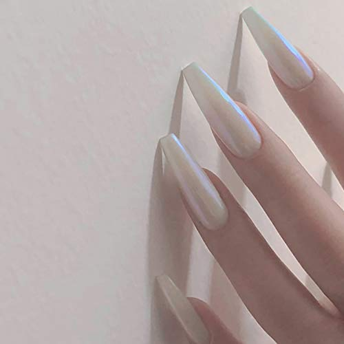 Vaveah 24 Pcs Press on Nails Coffin for Women, Extra Long Fake Nails Glue on Nails, False Nails with Glue (Pearl)