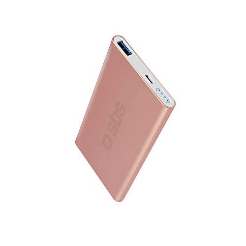 SBS Power Bank Caricabatterie Portatile da 5000mAh a Ricarica Rapida, Uscita USB 2.1A, scocca in Alluminio Satinato Colore Rose Gold, 4 indicatori LED di Stato, Cavo USB Incluso