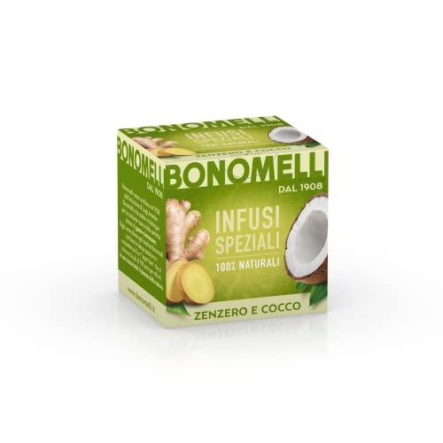Bonomelli, Infusi Speziali, Zenzero e Cocco, Ingredienti 100% Naturali, Sapore Intrigante e Tropicale, Infuso Rinfrescante ed Energetico, Miscela Senza Caffeina, Confezione da 10 Filtri