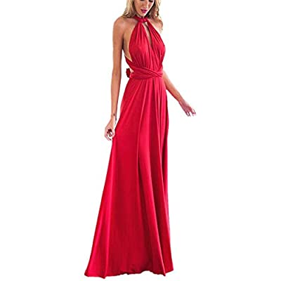 ♥♥ TOP CHOICE: Women's Casual Deep- V Neck Sleeveless Vintage Wedding Maxi Dress.Women lady sexy convertible multi way wrap dress plus size full length long maxi dress wedding bridesmaid party formal bandage off shoulder slim fit V neck cocktail home...