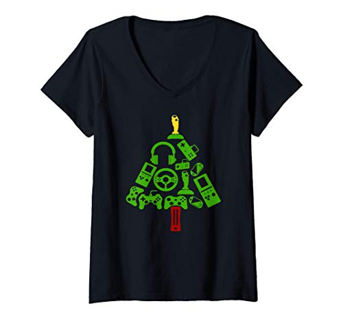 Womens Funny Gamer Gift Headset Merry Christmas Tree Lights V-Neck T-Shirt