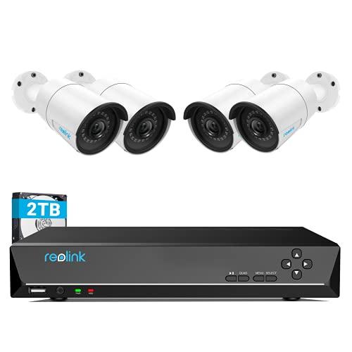 Reolink 4MP Kit Videosorveglianza PoE, 8CH 2TB NVR con 4X 4MP Telecamera Esterno IP PoE Impermeabile, Sistema di Sorveglianza con Visione Notturna di 30 Metri, Registrazione 24/7, RLK8-410B4-4MP