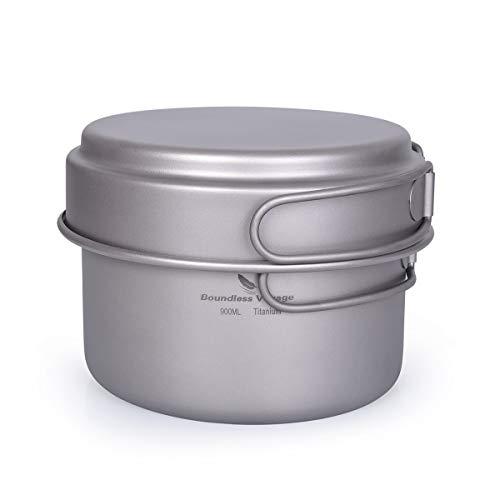 Boundless Voyage Kit di pentole da Campeggio Set di pentole in Titanio con Manico Pieghevole Kit di Pasticcio per Cucinare all'aperto Pentole Pentole Padella Pentole per Picnic Ti1585B
