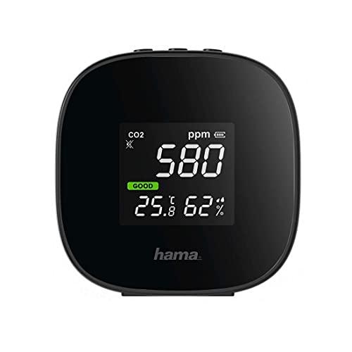 Hama Luftqualität-Messgerät (CO2 Ampel, Kohlendioxid Detektor zum Messen von Raumluft, Luftqualitätsmonitor mit Anzeige für Temperatur und Luftfeuchtigkeit) schwarz