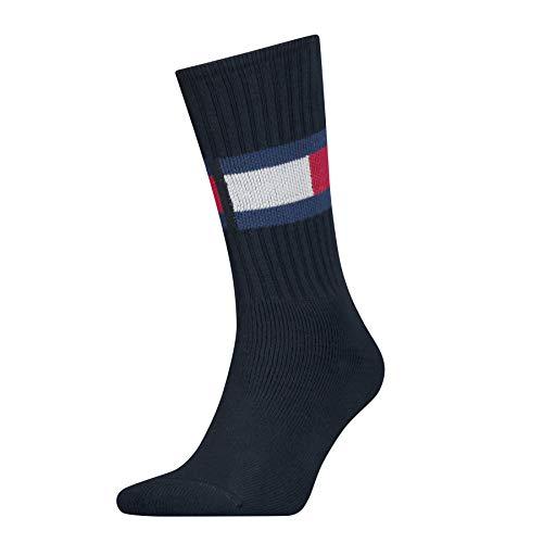 Tommy Hilfiger TH Jeans Flag 1p Calze, Blu (Dark Navy 322), 39-42 Uomo