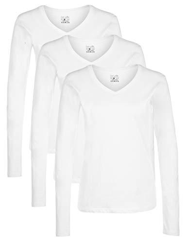 Berydale Damen Langarmshirt mit V-Ausschnitt, 3er Pack, Weiß, L