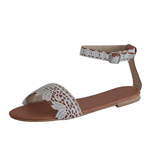 Sandalias para Mujer, Verano 2020 Planas Chanclas Moda Talla Grande Sandalias de Vestir de Encaje Playa Zapatos Cómodo Sandalias de Punta Abierta Casual Sandalias Roman Fiesta Flip Flop de Piscina