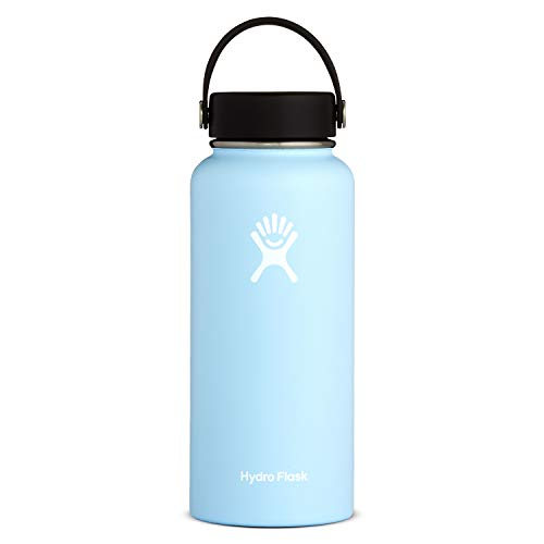 Hydro Flask Water Bottle - Stainless Steel & Vacuum Insulated - Wide Mouth with Leak Proof Flex Cap - 32 oz, Frost