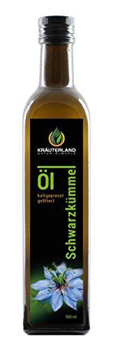 Kräuterland Schwarzkümmelöl 500ml - gefiltert, kaltgepresst, ägyptisch, 100% naturrein, mild