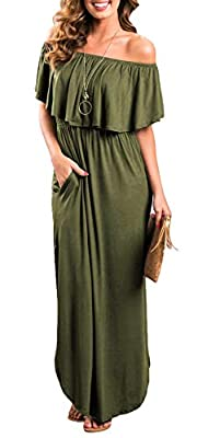 BUST: (S)33.07 inches (M)34.65 inches (L)36.22 inches (XL)37.80 inches Cotton+Spandex, Lightweight, Soft and stretchy. Features: off shoulder, short sleeve, ruffles, vintage, side split, loose fit, casual wear, long sundress, swing dress, side slit p...